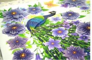 ウォールステッカー 3D 立体 孔雀と紫の花
