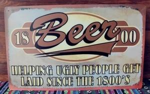 【お取り寄せ】看板 ブリキ ビンテージ風 Beer & OLD GUYS RULE 2枚セット
