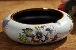 【お取り寄せ】灰皿 ヨーロピアンアンティーク風 花柄 陶器製 (D)