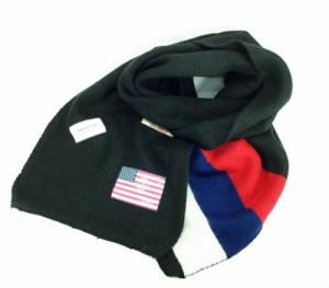 ロングマフラー 星条旗ワッペン 3色ボーダー (ブラック)