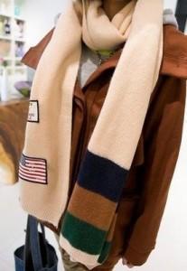 【お取り寄せ】ロングマフラー 星条旗ワッペン 3色ボーダー (アイボリー)