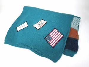 ロングマフラー 星条旗ワッペン 3色ボーダー (ブルー)