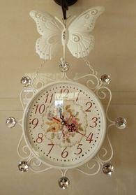 掛け時計 ヨーロピアン風 蝶々 ローズ