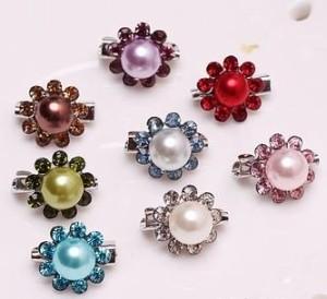 【お取り寄せ】ブローチ ミニ 小さな丸いお花 キラキラ 2個セット (パープル)