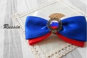 ヘアクリップ リボン 国旗ボタン付き (ロシア)