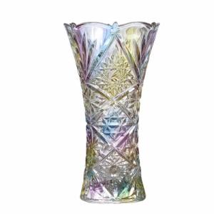 【お取り寄せ】フラワーベース 花瓶 レトロ風 レインボーカラー ガラス製 (C)
