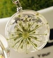 【お取り寄せ】ネックレス ガラス玉 押し花風 白いお花入り (チェーン)