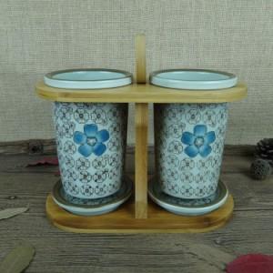 【お取り寄せ】箸立て 和モダン 花模様 陶器製 竹製ラック付き (ブルー)
