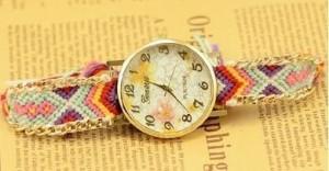 【お取り寄せ】腕時計 エスニック風 花柄の文字盤 編み編みベルト (E)