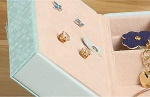 【お取り寄せ】アクセサリーケース パステルカラー 蝶々 ロマンチック系 (ライトブルー)