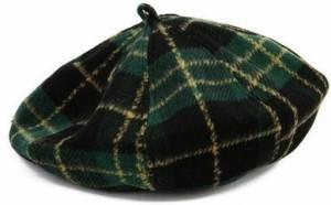 ベレー帽 タータンチェック 定番 (グリーン)