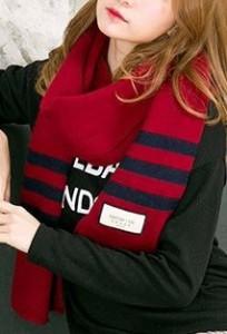 ロングマフラー シンプル バイカラー 裾ボーダー (ボルドー)
