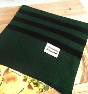 【お取り寄せ】ロングマフラー シンプル バイカラー 裾ボーダー (モスグリーン)