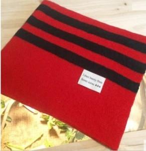 【お取り寄せ】ロングマフラー シンプル バイカラー 裾ボーダー (レッド)