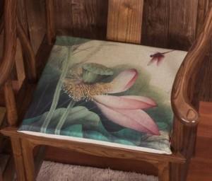 【お取り寄せ】イス用座布団 薄型 和モダン 蓮の花 水彩画風 (D)
