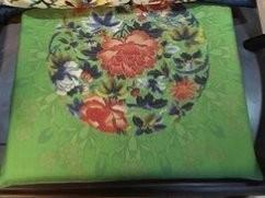 【お取り寄せ】イス用座布団 薄型 中国モダン 牡丹の花 (グリーン)