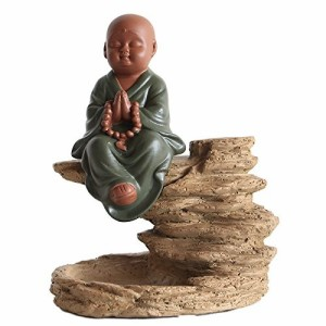 【お取り寄せ】置物 石の上にたたずむ 和尚さん 和風 (瞑想)