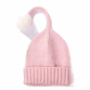 【お取り寄せ】ニット帽 キッズ用 シンプル しっぽ風ボンボン付き (ピンク)