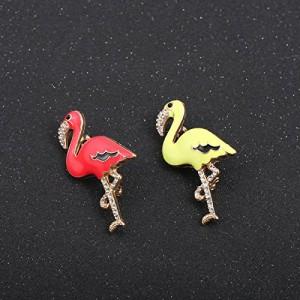 【お取り寄せ】ブローチ 美しい色合い キラキラ フラミンゴ (レッド)