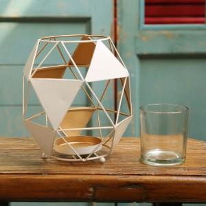 【お取り寄せ】キャンドルホルダー 三角の幾何学模様デザイン モダン ホワイト (小サイズ)