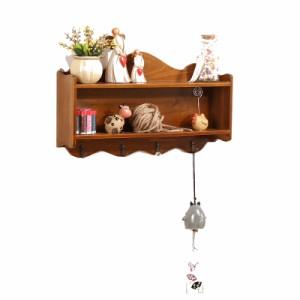 【お取り寄せ】小物ラック 壁掛け用飾り棚 アンティーク風 波型デザイン 木製 フック付き (ブラウン)