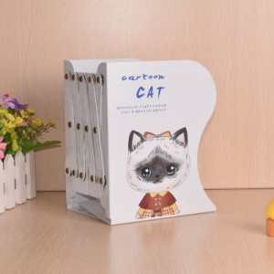 【お取り寄せ】ブックエンド 伸縮タイプ 猫の女の子 イラスト アイアン製  (Bタイプ)
