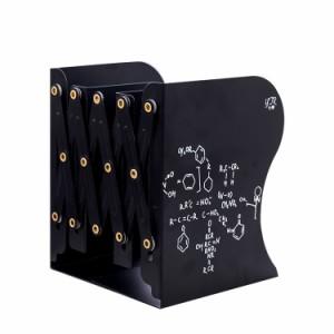【お取り寄せ】ブックエンド 伸縮タイプ 理数系 イラスト アイアン製  (ブラック)