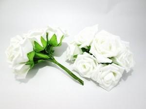 """""""造花 バラ ラメ付き 6本×5束 30個セット (ホワイト)"""""""