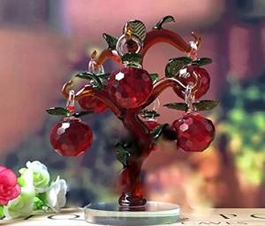 置物 小さなりんごの木 クリスタル 16cm (レッド×ブラウン)