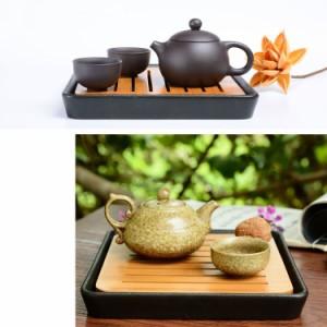 茶盤 中国茶道具 モダン 竹 陶磁器製 正方形 (黒)