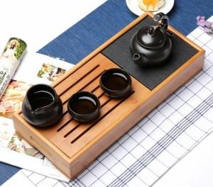 茶盤 中国茶道具 竹製 長方形 プレート付き (黒)