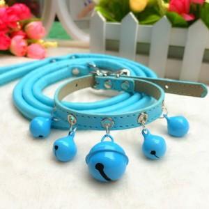 首輪&リードセット 鈴付き 小型犬向き (ブルー)
