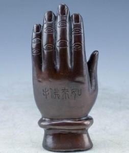 置物 お釈迦様の手の上の孫悟空 西遊記 アンティーク風 (ブラウン)