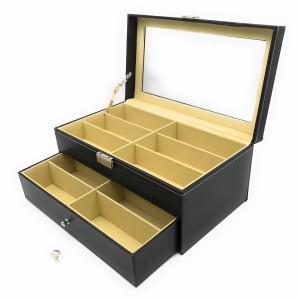 メガネ収納ボックス ガラス製窓付き 2段 大容量 12本用