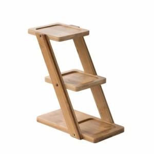 【お取り寄せ】小物ラック フラワースタンド ナチュラル系 シンプル 木製 3段 (縦型)