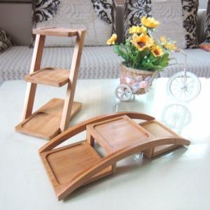 小物ラック フラワースタンド ナチュラル系 シンプル 木製 3段 (縦型)