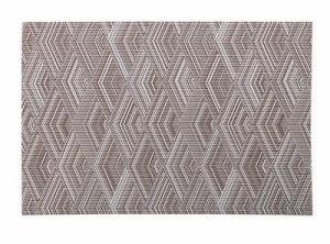【お取り寄せ】ランチョンマット パターン柄 幾何学模様 PVC 同色4枚セット (ブラウン)