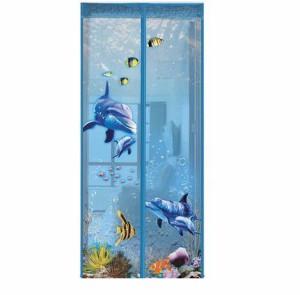【お取り寄せ】玄関カーテン 虫よけ 海の中の世界 イルカ 熱帯魚 3D風