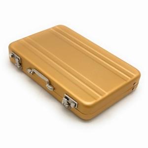 名刺入れ アタッシュケース型 アルミ製 (ゴールド)