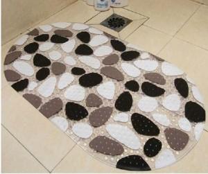 お風呂マット 楕円形 モノトーン 玉砂利風 浴室用 滑り止め付き