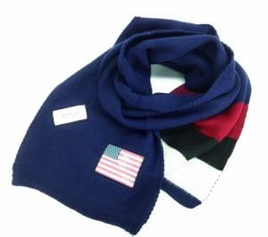 ロングマフラー 星条旗ワッペン 3色ボーダー (ネイビー)