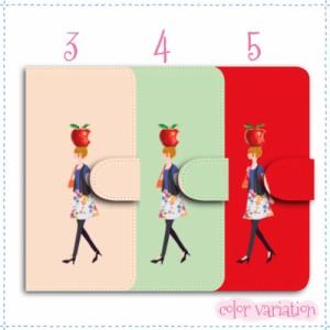 iPhone 4 手帳型 スマホケース iPhone 4 ケース 分厚い白革 女の子とりんご 送料無料