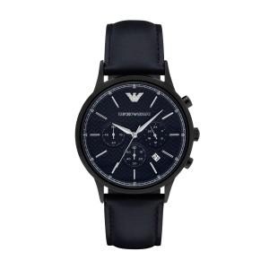 [厳選]エンポリオアルマーニ EMPORIO ARMANI 43mm メンズ クロノグラフ 腕時計 ネイビー×ブラック ステンレス×レザー ar2481