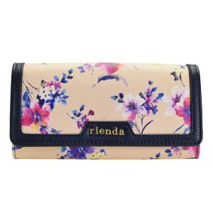 リエンダ rienda レディース 二つ折り長財布 花柄 ベージュ r03708203-be
