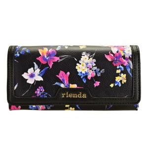 【スペシャルセール】リエンダ rienda レディース 二つ折り長財布 花柄 ブラック r03708204-bk