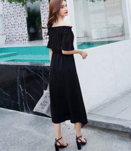 ワンピース ドレス サマードレス ブラック オフショルダー
