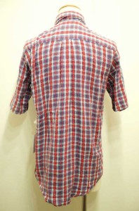 USED(ブランド不明) 半袖チェックシャツ - レッド × ブルー メンズ【バズストア 古着】【中古】
