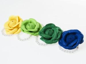 ウェディング 花嫁 発表会 パーティーなど 造花 パールビーズ リストレット ブレスレット リストブーケ#ネイビー 送料込