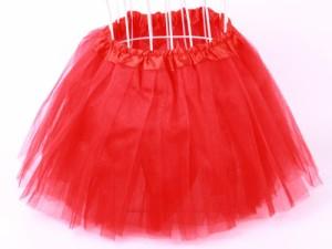 子ども ガーゼスカート プリンス風無地ドレス/赤色 送料込