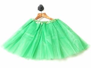 変装 ふんわり ミニ チュール ガーゼスカート バレエ 舞台など 無地ドレス#グリーン 送料込